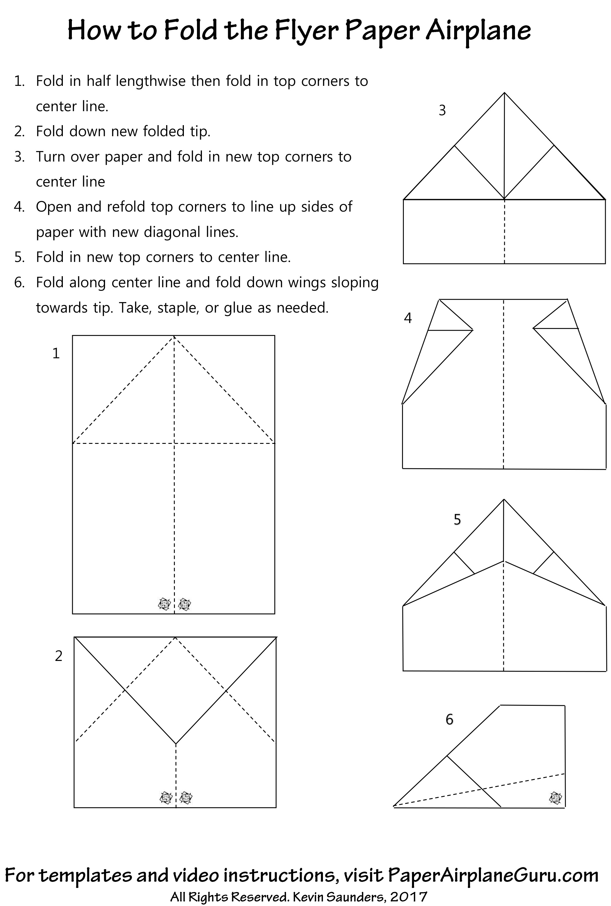 Flyer Paper Airplane Instructions Jpg Pdf Video