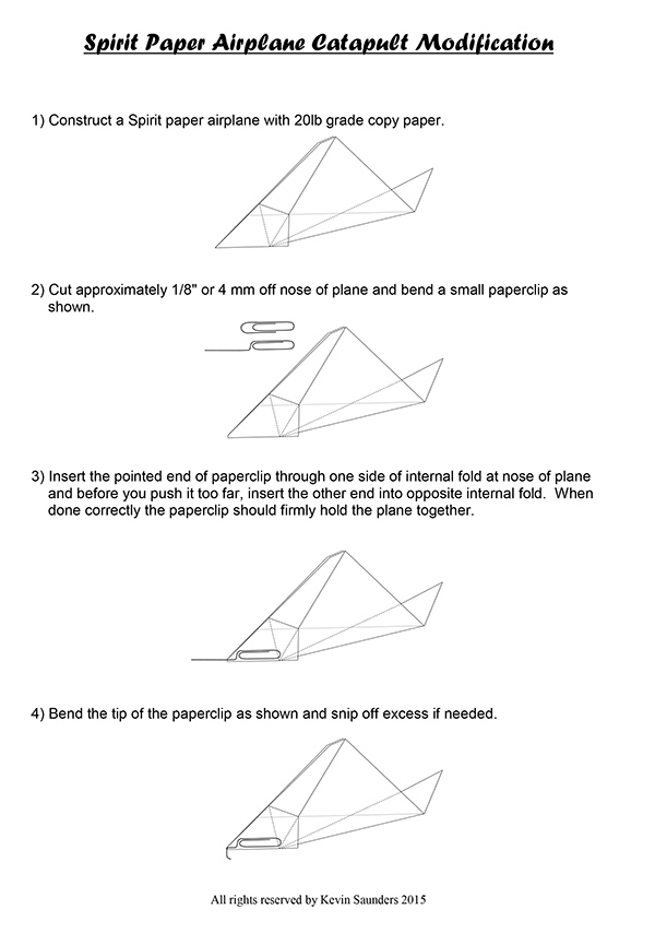 spirit paper airplane design instructions and template