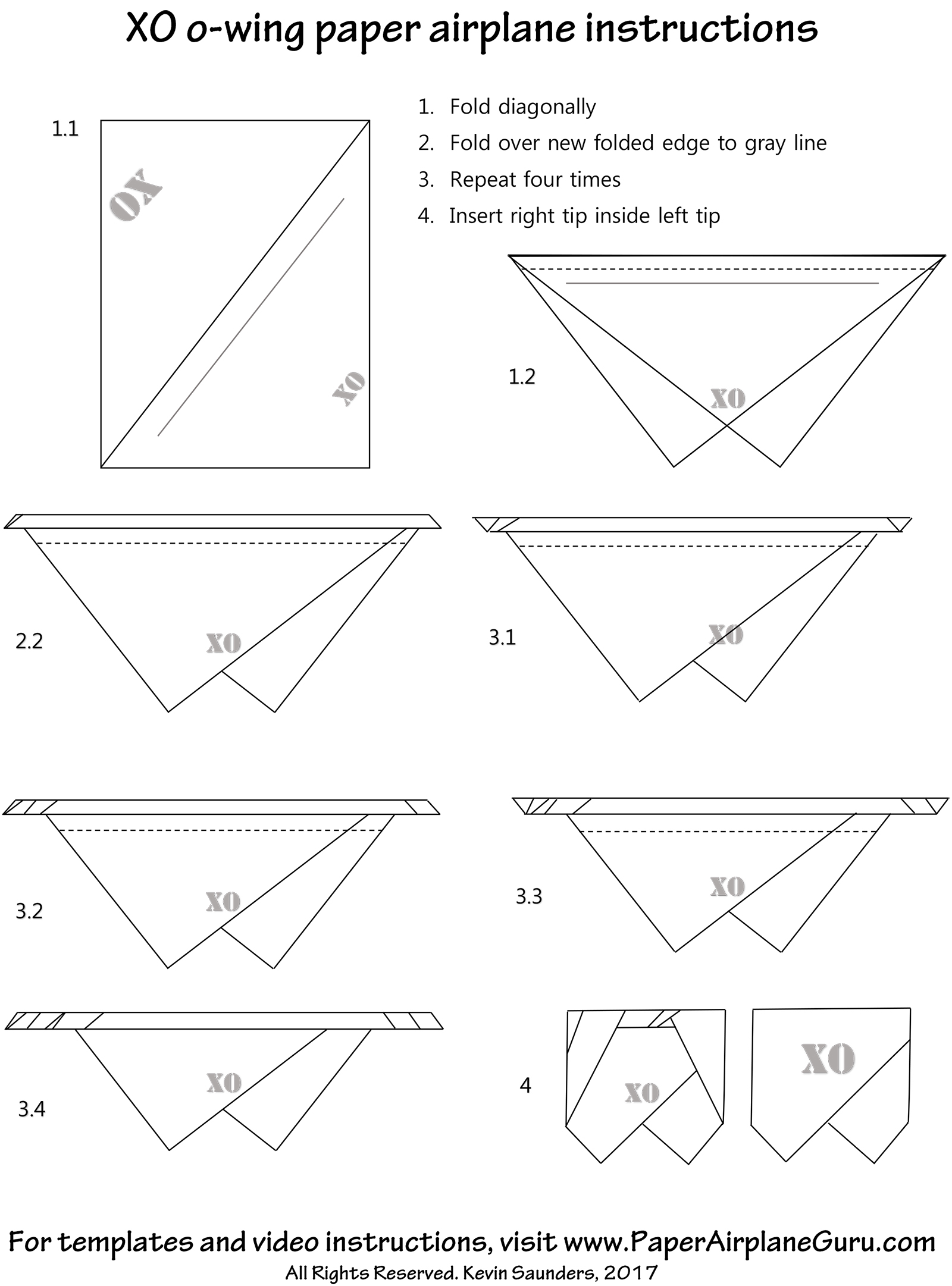 xo paper airplane design instructions and templates